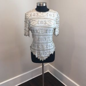 Vintage Ivory Sequin & Beaded Blouse
